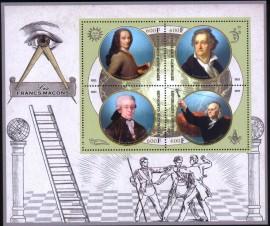 Gabão -2021 -  Maçons Famosos - Voltaire-Goethe-Mozart-Benjamin - Mini Folha com 4 selos