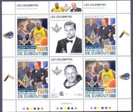 Djibouti- 2020  - Maçons Famosos -Shaquille-Churchill - . Mini Folha c/4 + 2 Filipeta -MNH