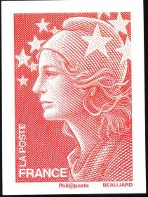 França -2008-Marienne, 'EUROPA'  DIVULGA A EMISSÃO DE  17.6.2008  Gravura de YVES  BEAUJARD. Cartão Divulgação dos Correios de França.